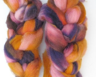 Dyed Alpaca and Finn Sheep Roving for Spinning and Felting - 2 ounces