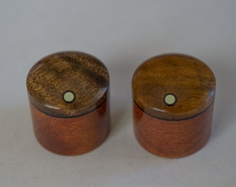 Myrtle on Makore Set of 2 custom wood guitar knobs