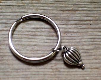 Hot Air Balloon Keychain, Antiqued Silver Hot Air Balloon Key Ring, Key Chain