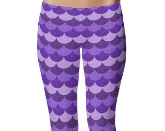 Mermaid Leggings in Purple, Fun Workout Clothes, Womens Yoga Pants