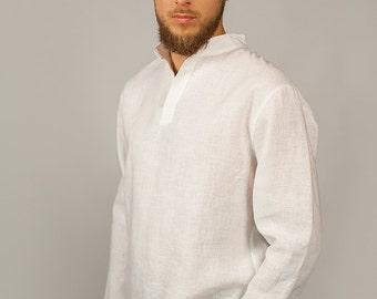 Linen Shirt For Men/ Flax Men's Shirt/ Casual Style Men's Shirt/ Longsleeve Shirt for Men/ Men's Shirt in White Color Linen