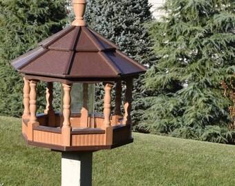 New Amish Handcrafted poly Spindle Gazebo Bird Feeder Large