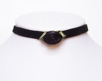 Gothic choker Black Rose velvet choker steampunk victorian elegance - AMELIA