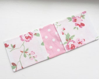 Cath Kidston Fabric Oyster Card Holder in White Rosali Fabric / Credit Card Wallet / Business Card Case