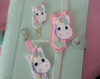 Unicorn felt planner paper clip band or bag charm Embroidery supplies kikkik filofax