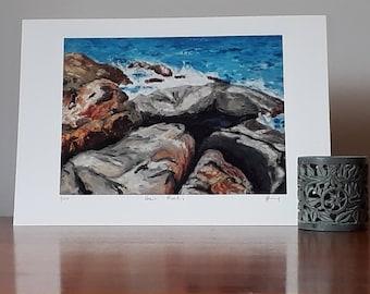 Archival quality art print Tasmanian Beach Rocks Limited edition Oil Pastel Painting A4 A3 Pigment Ink by Tasmanian Artist Van Rabbit Art