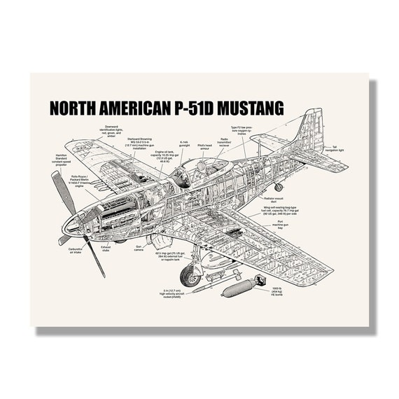 North American P-51D Mustang Official Aviation Cutaway by