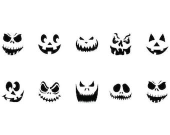 Waterslide Nail Decals Set of 20 - Halloween Pumpkin, Jack O Lantern Faces Assorted