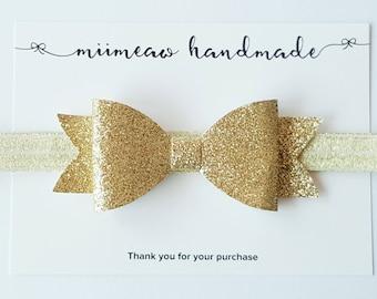 Christmas Gold Glitter Bow headband, Christmas headband, You choose headband or hair clip