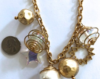 thick chain planet stars balls gold-tone necklace celestial