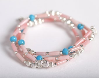 """Pink Coral & Turquoise Necklace,  Pink Coral/Turquoise/ Sterling Silver Necklace, 18"""" Necklace, Single Strand Necklace, Genuine Stones"""