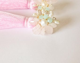 Rose pink tassel earrings with rose quartz, natural pearls and crystals