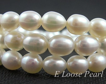 AA genuine Rice pearl Natural White Teardrop Large Hole freshwater pearl Wheat pearl loose pearl Necklace 7.0-7.5mm 43pcs Full Strand PL6020