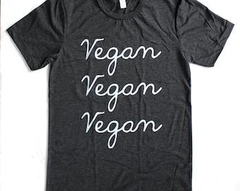 Vegan Vegan Vegan UNISEX/MENS T-Shirt  -  Available in S M L XL and two shirt colors -  vegetarian