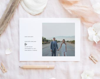 Printable Save The Date Card   Minimalist Save The Date   Photo Card Save The Date   Wedding Date Card   Engagement Announcement   SD-014