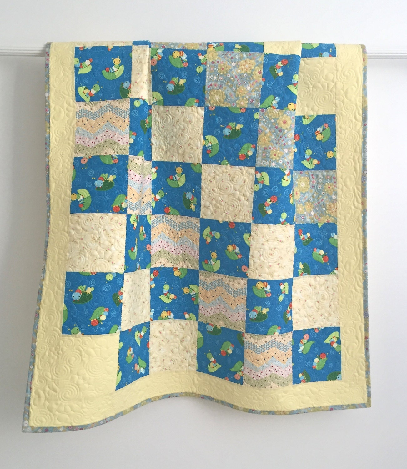 qulited green reversible kantha quilt blue quilted instruction embroidered bedspread stitch