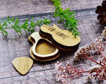Custom Laser Engraved Wooden Guitar Pick with Holder Box, Personalized Guitar Pick Case Oak Wood Pick Guitar Plectrum Gifts for Him Musician