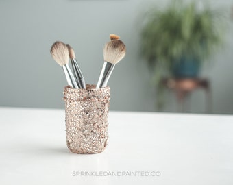Mini Rose Gold & White Gold Glitter Vase, Rose Gold Makeup Brush Jar, Small Plant Pots, Mini Glass Pot, Desk Decor, Cactus Pot