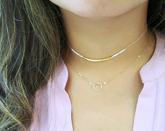 Dainty Circle Necklace, Karma Necklace, 14k Gold Fill or Sterling Silver, Delicate Chain, Dainty Open Circle Necklace
