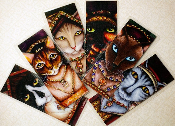 Tudor Cat Bookmarks, Set of Six Wives of King Henry VIII