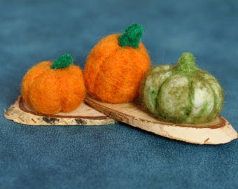 Needle Felted Pumpkins on Wood