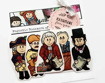 US Presidents Magnetic Bookmarks, History Lover Gift, Political Gift, Teacher Appreciation Gift, Jefferson, Roosevelt, Lincoln, Washington