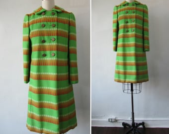 1960s coat | vintage 60s coat | dress coat | green, orange, red and white| small - medium | Adrie Dress Coat