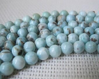 6-7mm Natural Larimar Round Beads S268