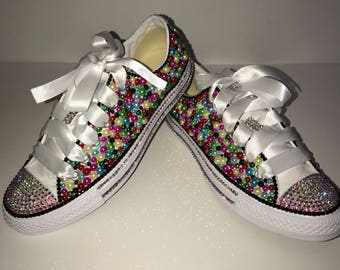 WOMENS Colorful Remix Bedazzle Bling Converse All Star Chuck Taylor Sneakers  Low Top