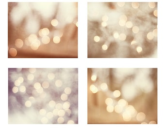 Abstract Light, Sparkle Photography Set, bokeh prints sparkly photo wall set neutral beige light brown circles cream pale wall photographs
