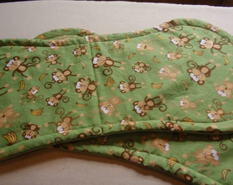 Green with Brown Monkey Burp Clothes-Set of two