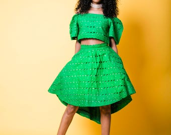 Lace crop top and high-low skirt set - Green lace fabric with rhinestone embelishments