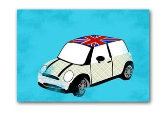 Mini Cooper Car - Stripped Pattern with union jack English mini car, nursery decorating ideas, mini car, nursery car