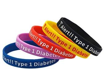 Medical Type 1 Diabetes Diabetic Alert Awareness Silicone Bracelet Wristband