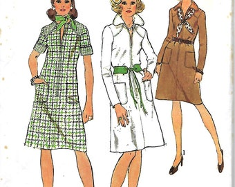 Simplicity 6207 Sewing Pattern, Misses Front Zip Dress With Or Without Collar In Long Or Short Sleeves, Size 18, Bust 40, UNCUT