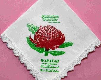 Ladies Waratah Print White Cotton Handkerchief with peaked Crochet Edge