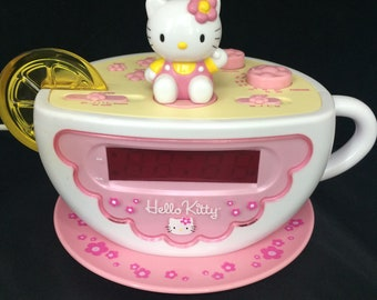 Hello Kitty Tea Cup Alarm Clock with AM FM Radio and Night Light