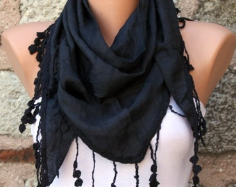 Black Scarf Sprig Scarf Shawl Scarf Cowl Scarf Gift Ideas For Her  Women's Fashion Accessories,Christmas Gift