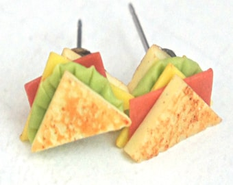 sandwich earrings- miniature food jewelry, food earrings