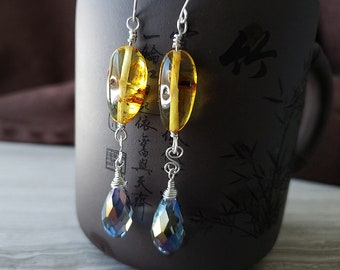 Handmade Sterling Silver Baltic Amber Drop Earrings with Faceted Iridescent Crystal Briolette