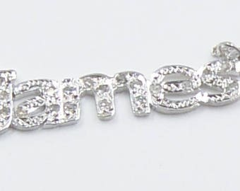 diamond name 14K solid gold .  with diamonds and chain. jam