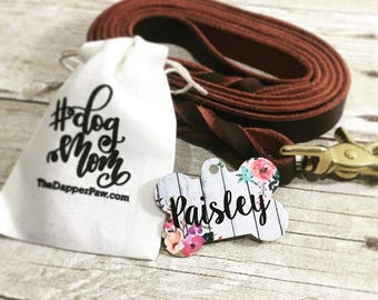 Watercolor Flowers Dog Tag Double Sided - Customized Dog Tag - Custom Dog Tag - Personalized Dog Tag - Monogrammed Dog Tag - Custom Tag