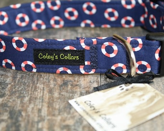 "Nautical Dog Collar, Preppy Dog Collar, Boy Dog Collar, Girl Dog Collar, Male Dog Collar, Female Dog Collar, Dog Collar ""The Lifesaver"""