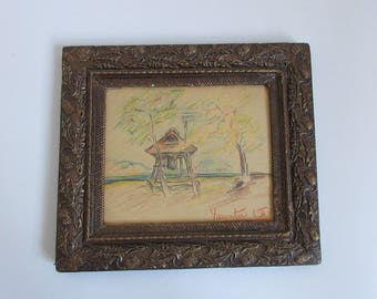 antique 30's original painting / drawing, landscape, framed and signed