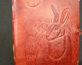 HARE & MOON - Pagan Wicca Handmade Leather Journal Diary Book of Shadows