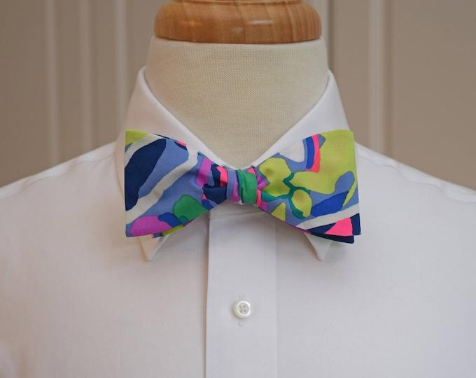 Men's Bow Tie, Havin' A Blast 2018 multi-color Lilly print, groomsmen/groom bow tie, wedding bow tie, Carolina Cup/Kentucky Derby bow tie