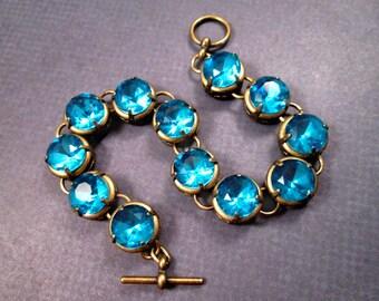Rhinestone Bracelet, Victorian Style, Aqua Blue Glass Stones and Brass Beaded Bracelet, FREE Shipping U.S.
