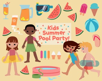 Kids Summer Pool Party! -  Vector Graphics and Clip Art