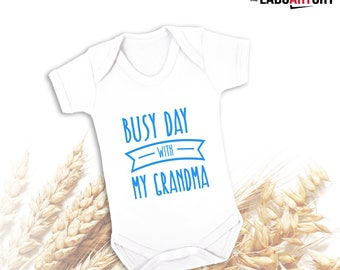Busy day with my Grandma - Cute Baby bodysuit - Cute Toddler T-shirt  - Baby Bodysuit - Best Grandson - Best Granddaughter