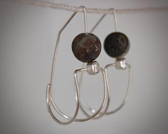 Gray Grey Amazonite Sterling Silver Geometric Earrings